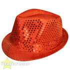 UNISEX SEQUIN FEDORA HAT TRILBY MJ FANCY DRESS HEN PARTY STAG DO GANGSTER DISCO