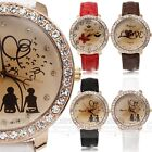 2016 New Fashion Romantic Crystal Case Woman Girl Wrist Watch Leather Strap Gift