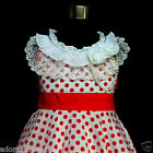 FREE P&P W3122 Reds White Princess Polkadot Flower Girls Party Dresses SIZE 4-5Y