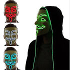 Hot Sale Light Up LED V for Vendetta Anonymous Guy Fawkes Costume Cosplay Masks