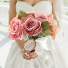 Rose Silk Ribbon Handmade Bridal Flowers Wedding Bouquet Party Home Favour Decor