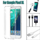 For Google Pixel XL Clear TPU Case Skin + Tempered Glass Film + USB Cable LOT