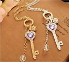 New Fashion Womens Silver Gold Plated Bib Crystal Pendant Long Chain Necklace