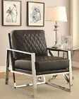 NEW STELLAN CONTEMPORARY STYLE WHITE or BLACK BYCAST LEATHER CHROME ACCENT CHAIR