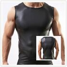 Man Sexy Sport GYM Black Faux Leather Vest Tops Sleeveless Tanktop T-shirt S -XL