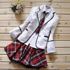 Korean Japanese School Girl Costume Student Uniform w/Jacket Suit for Cosplay