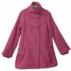 RETRO NEW LADIES ANIMAL WOOL MIX PINK HOUNDSTOOTH A-LINE FUNNEL NECK COAT SZ 14