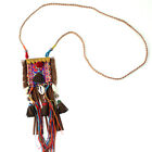Ethnic Vintage Bohemian style Big Tassel Pendants Long String Necklace for party
