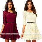 Women Sweetheart Neck Half Sleeve Red Clubwear Lace Mini Skater Dress & PU Belt