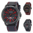 Mens Army Sport Watches Date & Day Display Leather Strap Quartz Watch 3 Colours