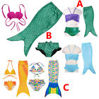 Girls Mermaid Tail Swimmable Bikini Set Swimwear Swimsuit Swimming Costume 3-10Y