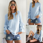 Fashion Women's Casual Long Sleeve Tops Loose Solid Blouse Ladies Tops T Shirt