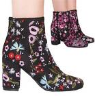 LADIES WOMENS BLACK/PINK FLORAL BLOCK HEEL ANKLE BOOTS ZIP UP CASUAL SHOE