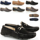 MENS BOYS SUEDE LEATHER CASUAL SLIP ON TRIM MOCCASINS DRIVING BLACK SHOES SIZE
