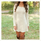 O-neck Women Autumn Winter Long Sleeve Knitted Jumper Sweater Pullover Dress