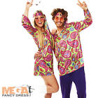 Hippy Guy Mens 1960s-1970s Fancy Dress Hippie Adult Costume Outfit + Headband