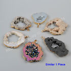 1Pcs Titanium Natural Druzy Quartz Crystal Slice Gold Plated Pendant HOT HG1092