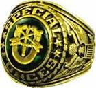 UNITED STATE SPECIAL FORCES SIGNET RING 18K (GP) GREEN AUSTRIAN CRYSTAL ETCHED