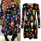 Christmas Womens Flared Swing Dress Fancy Santa Skull Elk Xmas Party Skirt 6-16