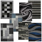 Hand Carved Modern Rugs Funky Grey Black Charcoal Teal Blue Small Large Rug