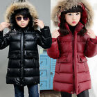 Children Kids Girls Boys PU Leather Down Cotton Coats Long Jacket Parka Outwear