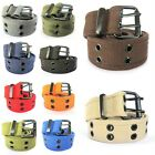 High Quality Men Women Unisex 2 Holes Grommet Stitched Military Web Canvas Belt
