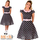 Rock and Roll Girl Ladies Fancy Dress Polka Dot 50 60s Womens Adults Costume New