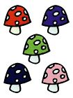 Mushroom Patch 4x5cm - Various Colours - 1 Supplied
