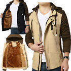 Mens Casual Fleece Jackets Hooded Collar Coats Trench Parka Slim Thick Outwear