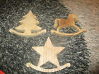 WOODEN STANDING CHRISTMAS ORNAMENT ROCKING TREE HORSE STAR