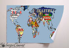 NOVELTY BEER MAP GIANT WALL ART POSTER A0 A1 A2 A3