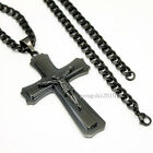 "Mens 18""- 32"" Stainless Steel Black Curb Chain Necklace Cross Pendant"