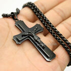 "Mens 18""- 32"" Stainless Steel Black Box Chain Necklace Cross Pendant"