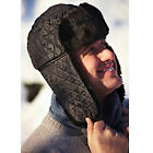 New Men's One Size Winter Quilted Trapper Ski Winter Hat Cap With Faux Fur Trim