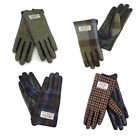 New Brown Leather Genuine Ladies Harris Tweed Gloves - Range of Colours + Sizes