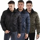 Kangol Mens Casual StreetWear Bomber Zip Through Fur Collar Jacket Coat S-XL