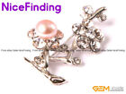 Fashion Pearl Rhinestone Brooches Pin Gold Plated Jewelry For Women Xmas Gift