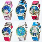 Fashion New Leather Stainless Steel Santa Claus Dial Analog Quartz Wrist Watch