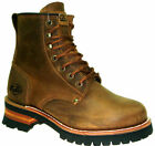 Fuda Men's Goodyaer Classic 6-Inch Brown Crazy Horse Leather Logger Boots