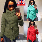 UK Ladies Winter Padded Coat Womens Quilted Jacket Parka Belted Bubble Outwear