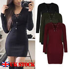 UK Womens Ladies Lace Up Knitted Sweater Slim Bodycon Jumper Tunic Mini Dress
