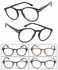 1 or 3 Pair(s) Round Clubmaster Clear Lens Reader Reading Glasses Metal Accents