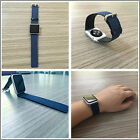 Blue Denim Genuine Leather Strap Bracelet Watch Bands For Apple Watch Series1 2