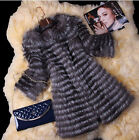 Women's 100% Fox Fur Coat Fur Vest Women's Ideal Design Fur Striped S/M/L/2XL