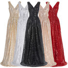 Sequins Shiny Long V-Neck Evening Party Cocktail Dress Bridesmaid Prom Club Gown