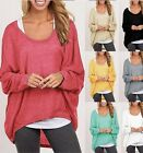 Fashion Women O neck Batwing Long Sleeve Casual Loose Solid Shirts Tops Blouses
