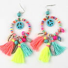 2016 new dangle earrings with cotton tassel colorful Bohemian Charm  Rainbow
