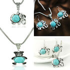 Womens Jewerly Set Retro Silver Earrings Necklace Turquoise Fashion Jewelry#bing