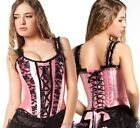 Pink Satin w Black Lace Trim Fancy Corset Top - Size S M L XL 2XL