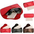 Durable PU Leather Glasses Case Sunglasses Eyeglasses Clam Shell +Cleaning Cloth